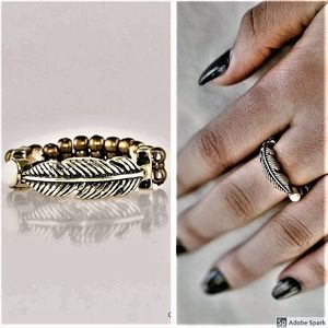 Heads or TAILFEATHERS - Brass Feather Stretch Ring